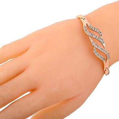 Vogue Elegant Unique Hollow Bracelet Crystal Inlay 9K Yellow Gold Filled Bangle