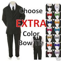6pc Color Bow Tie + Baby Toddler Boy Black Wedding Suit Tuxedo S-20 Teen
