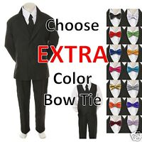 6pc Color Bow Tie + Baby Toddler Boy Black Wedding Suit Tuxedo S-20 Teen