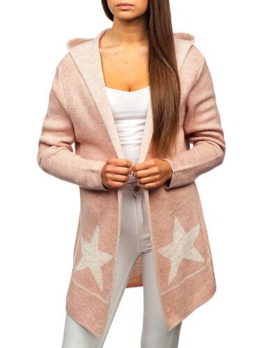 Cardigan Strickjacke Pullover Strickpullover Sweater Kapuze Damen BOLF E5E Motiv