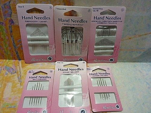 HEMLINE Quality Hand Sewing Needles Leather-PVC Vinyl Straw Milliner Embroidery