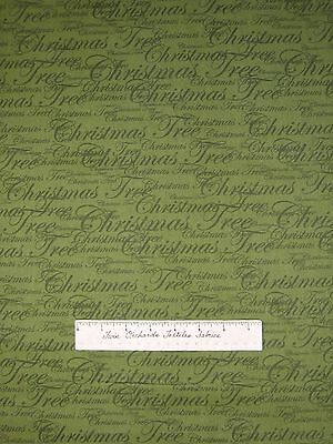 Christmas Tree Glitz Fabric - Holiday Words on Olive Green - AE Nathan YARD