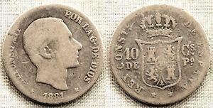 HonnêTe Spain-alfonso Xii. 10 Centavos De Peso. 1881 Manila Plata 2,5 G. Escasa Une Grande VariéTé De Marchandises