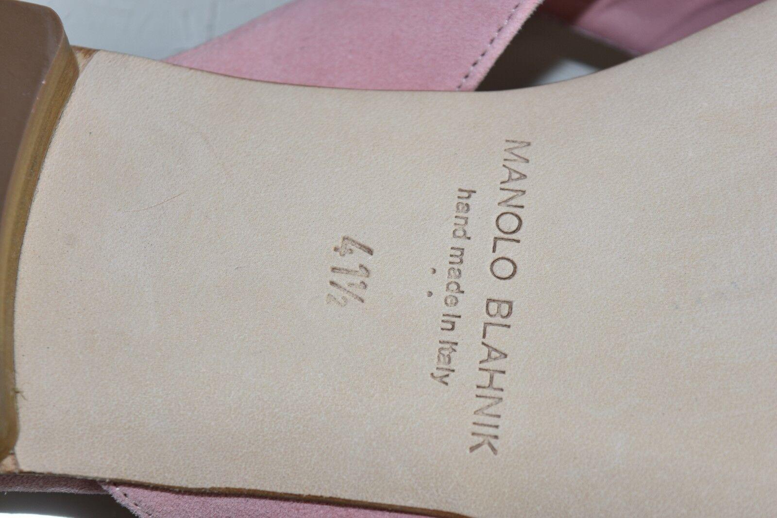 Neuf Manolo Blahnik Petala Camellia Rose Pâle Cuir Suédé Suédé Suédé Sandales 40.5 41 41.5 652824