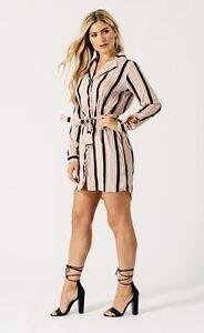 New-Womens-Ladies-Beige-black-stripe-shirt-dress-size-14