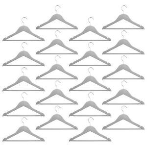 20-Childrens-Wooden-Coat-Hangers-Kids-Clothes-Trouser-Hanger-Bar-Grey