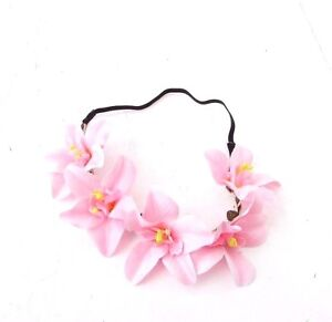 Light Pink Tropical Orchid Flower Garland Headband Hair Crown Festival Boho 5745