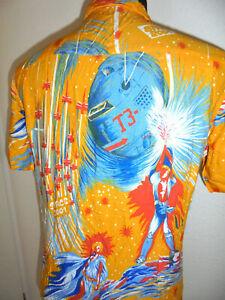 vintage-italy-80s-Hemd-crazy-pattern-space-Weltraum-shirt-oldschool-gemustert-M
