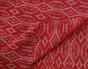 Gothic-Crosses-Red-Silk-Cotton-Ikat-Natural-Fiber-Hand-Woven-Soft-Fabric-44-034