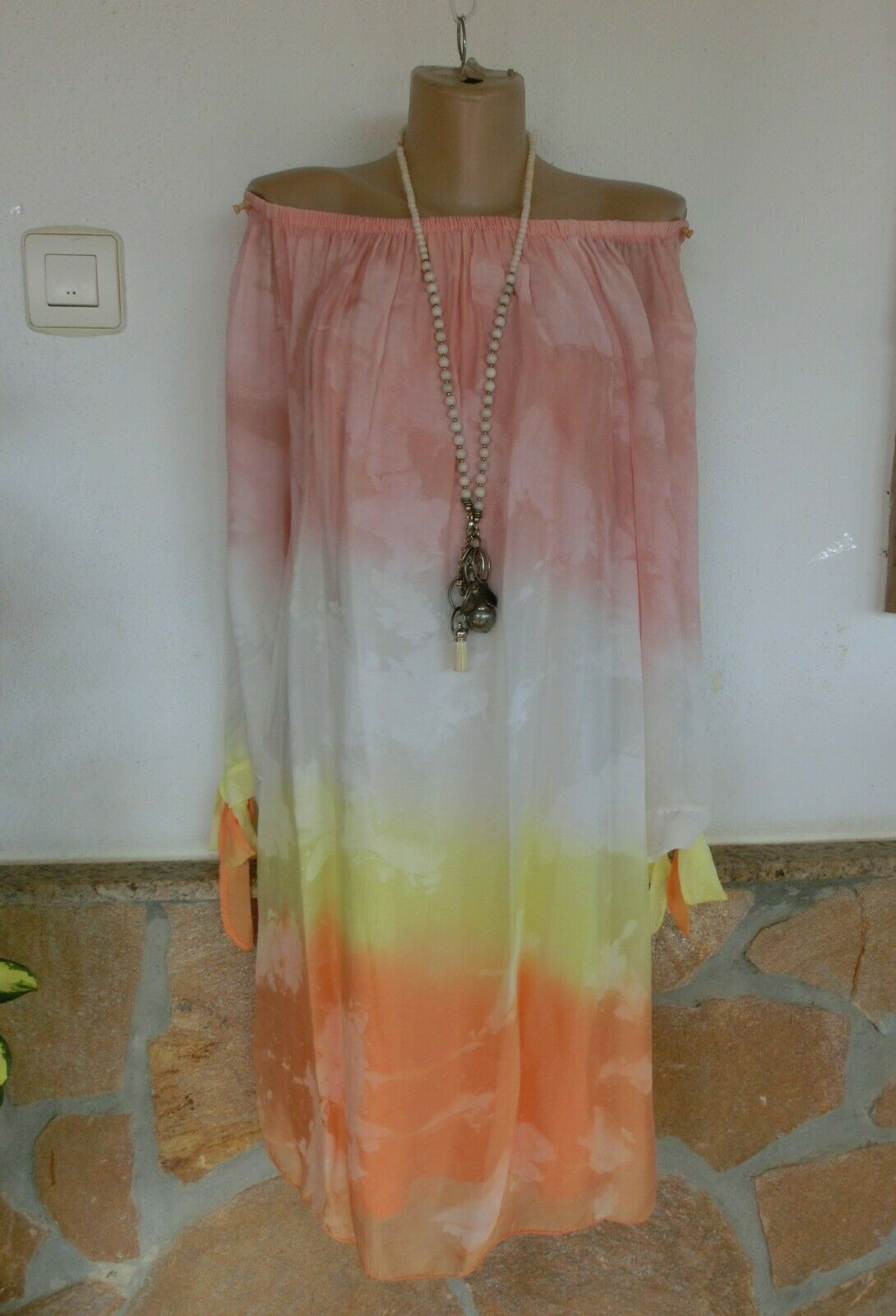 Kleid Hängerchen Elisa Romantik SEIDE BeInn Farbmix 4 Farbig  EG 38-42