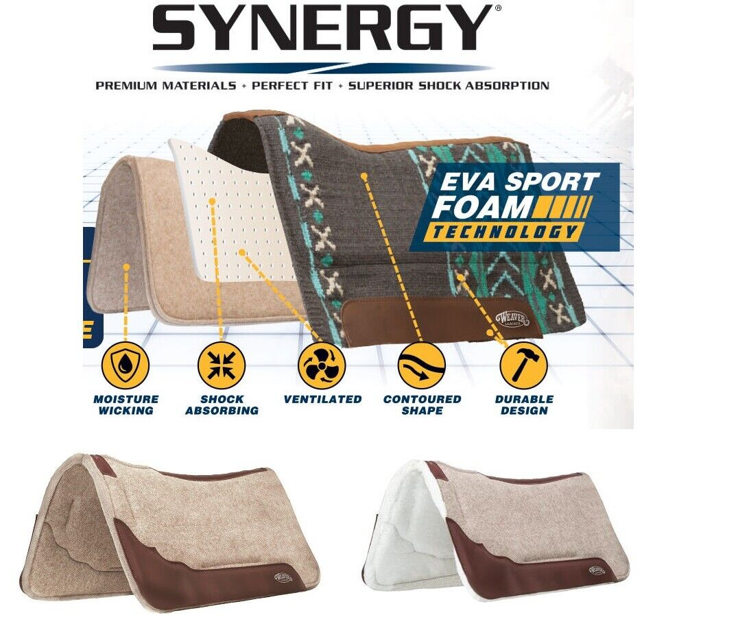 Weaver Leather Synergy profilé Mélange Laine Feutre Performance Saddle Pad
