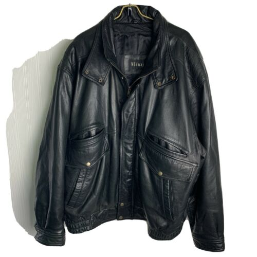 Mens Genuine Leather Jacket 2xL Midway