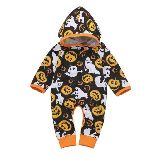 Newborn Baby Boys Girl Toddler Halloween Romper Jumpsuit Hooded Bodysuit Outfits