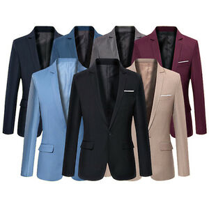 Fashion-Men-039-s-Casual-Slim-Fit-Formal-One-Button-Suit-Blazer-Coat-Jacket-Tops