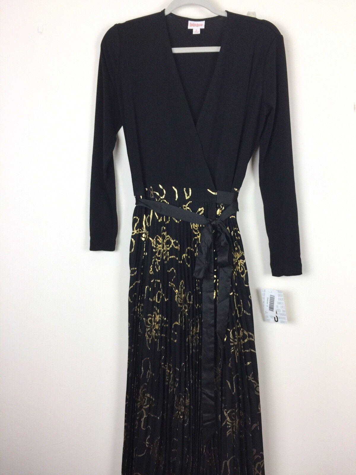 NWT LuLaRoe Elegant DeAnne Wrap Dress schwarz With Gold Floral Pattern Größe Small