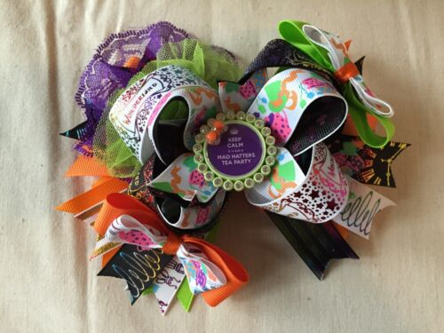 Mad Hatter Tea Party Alice In Wonderland Over the Top Boutique Bow Hair Clip