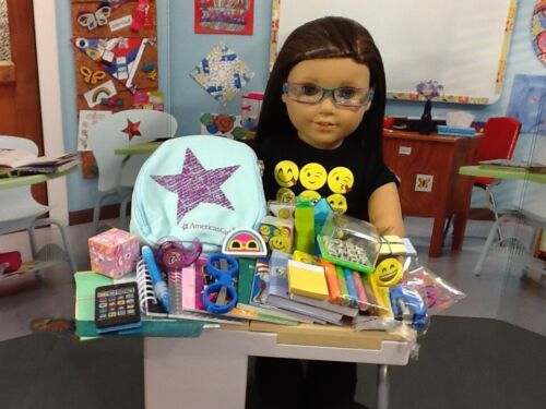 """AG Blue Backpack /& 40 pc School Suppliies 18/"""" American Girl Dolls Access.NO DESK"""