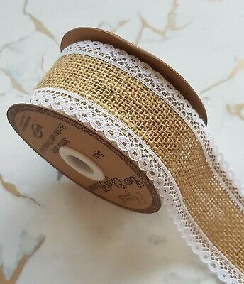 Rustic Rose Gold Hessian Ribbon Dots Spot Chevron Zig Zag 1m x 5cm Wedding Craft
