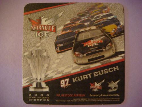 SMIRNOFF Vodka Twisted ~*~ 2004 Kurt Busch Nextel Cup Racing Beer Drink Coaster