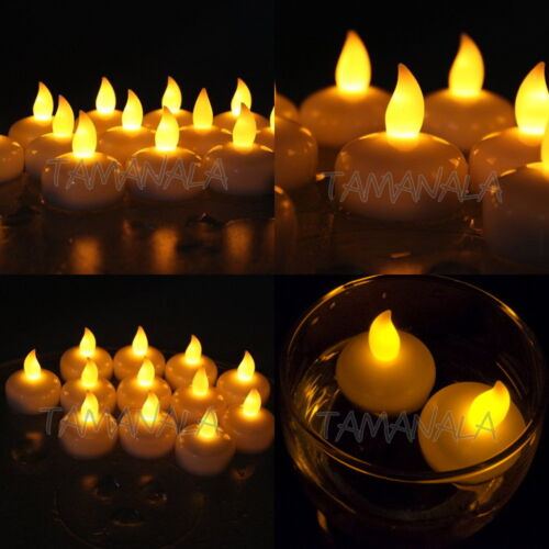 12 24 36 Waterproof LED Floating Tea Light Flameless Candle for Wedding Party