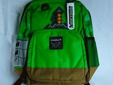 "Jinx Minecraft 17/"" Kids Green Sword Backpack Book Bag Laptop Pocket Creepers Axe"