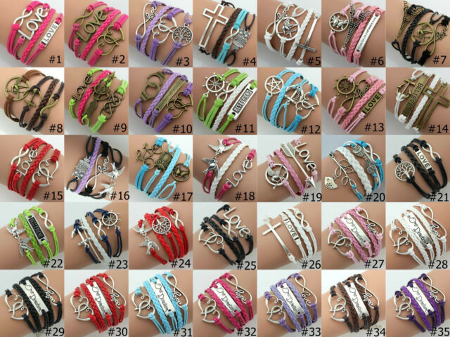 Fashion Love Infinity Wish Double hearts Charms Leather Friendship Bracelet