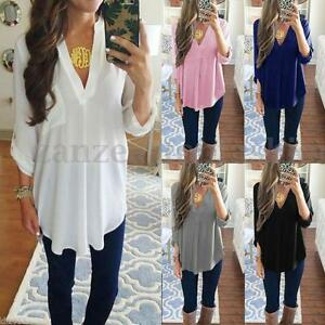 ZANZEA Women V Neck Loose Oversize Solid Long Sleeve Casual Blouse Tops T Shirt