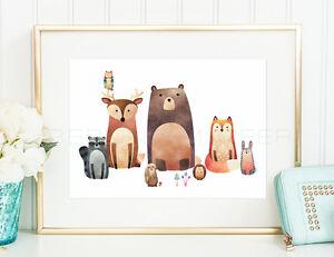 WALDFREUNDE-Kinderzimmer-Geschenk-Tiere-Baer-Fuchs-Kind-Kunstdruck-Poster