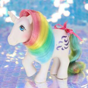Vintage-My-Little-Pony-WINDY-Rainbow-Hair-Purple-Unicorn-Glitter-G1-MLP-BO323