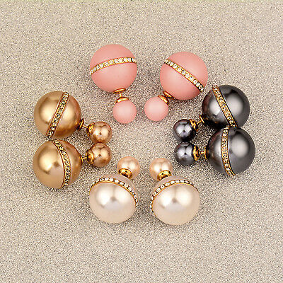 Charm Women Crystal Pink/GoldWhite Ball Double Sided Stud Earrings Brand Jewelry