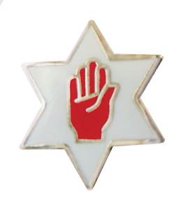 Red Hand Within A Six Pointed Star Cut Out Orange Order Pin Badge