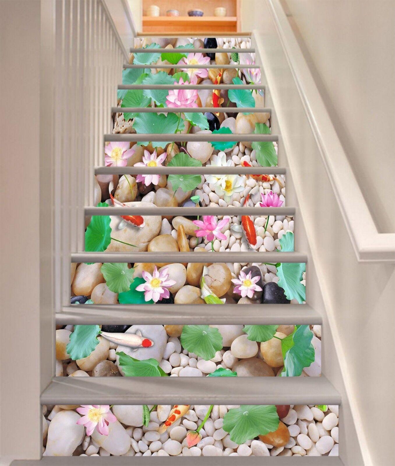 3D Cobble Carp Stair Risers Decoration Photo Mural Vinyl Decal Wallpaper CA