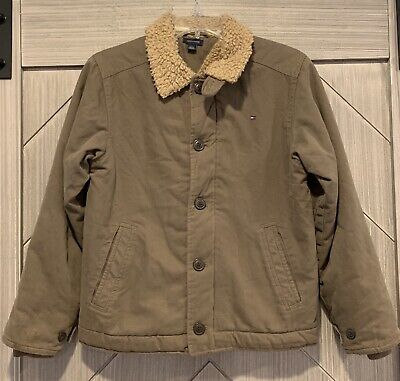 Tommy Hilfiger Womens Cotton Sherpa Lined Olive Green ...