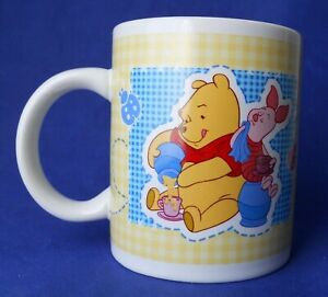 Disney-Winnie-The-Pooh-amp-Piglet-Gingham-Sewing-Fabric-Patch-Work-Coffee-Mug-Cup