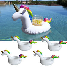 4x Swimming Inflatable Unicorn Floating Pool Bath Beach Drink Can Cup Holder US