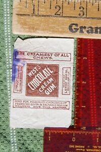 West's Chocolate Cream Gum Wrapper L.E. West Rock Island Illinois Advertising