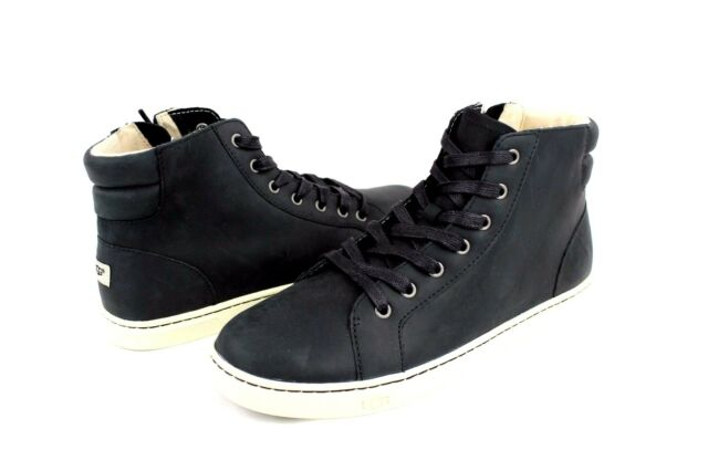 UGG AUSTRALIA GRADIE LEATHER BLACK HIGH TOP SNEAKERS SIZE 11 US