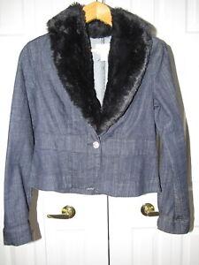 White House Black Market Faux Fur Denim Jacket Size 8 Ebay