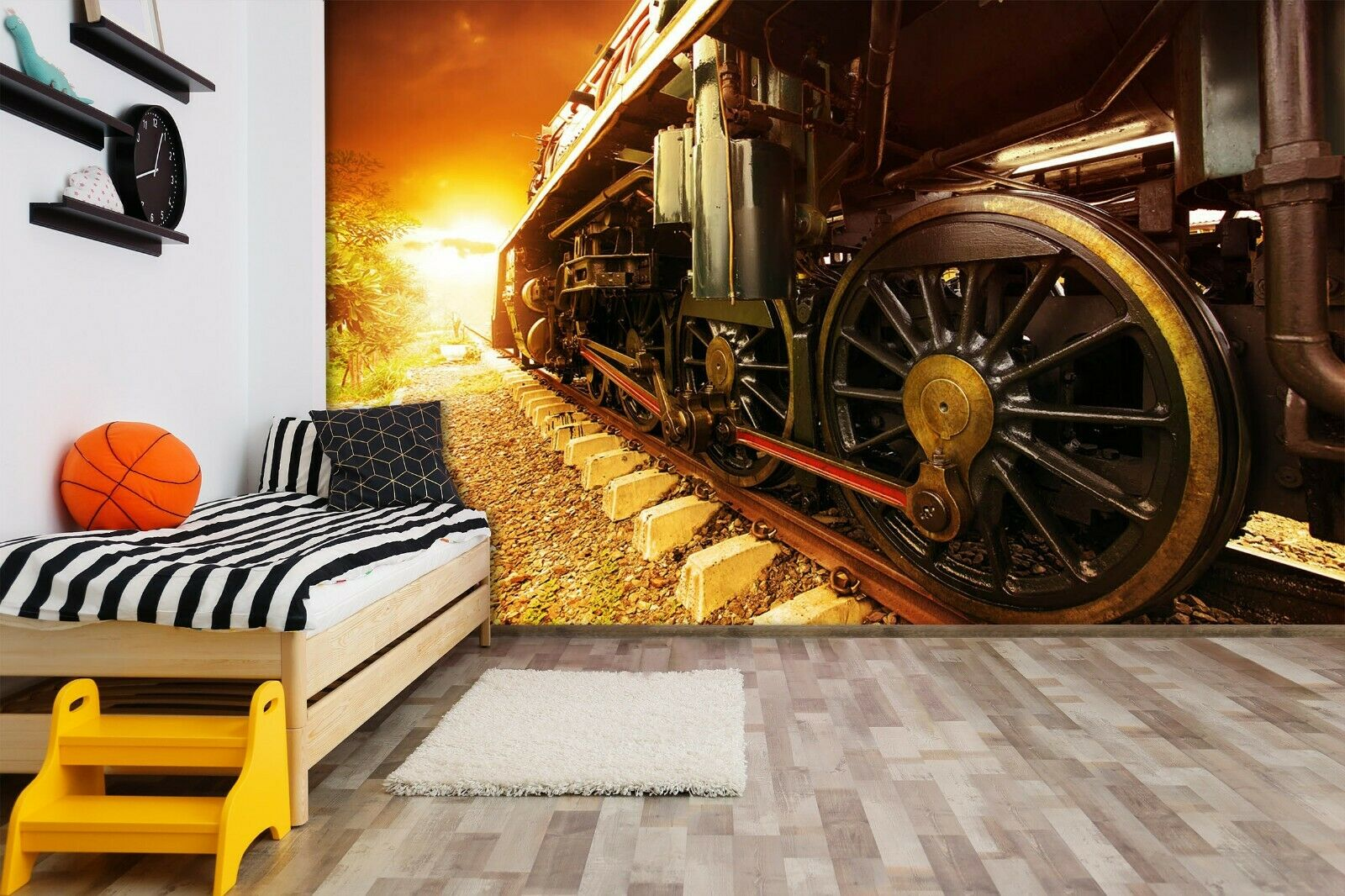 3D Train Wheel N421 Transport Wallpaper Mural Self-adhesive Removable Amy