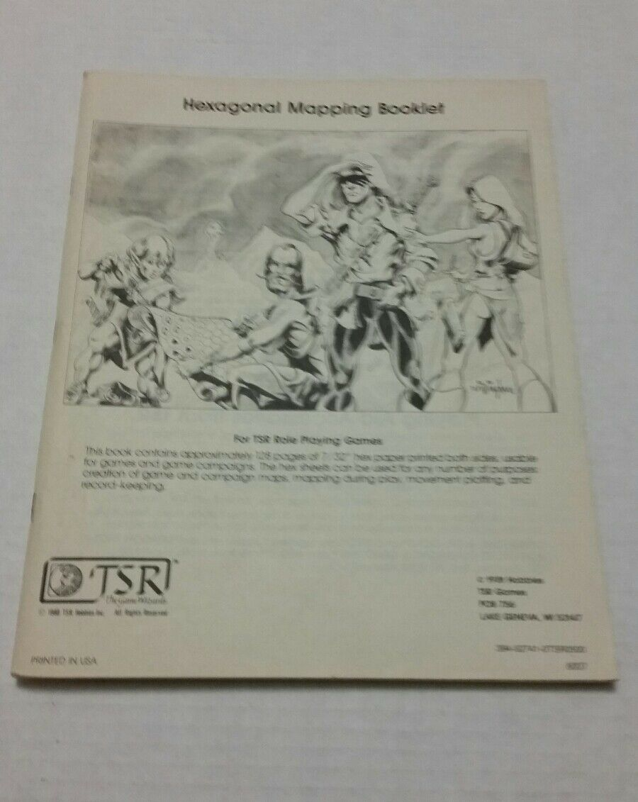 HEXAGONAL MAPPING BOOKLET EXC  UNMARKED D&D TSR Dungeons Dragons Graph Paper