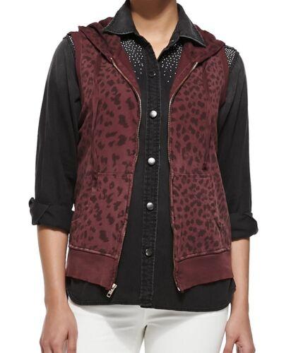 Current Elliott Garnet Leopard print sleeveless zip Hoodie Size 2 NWT $168