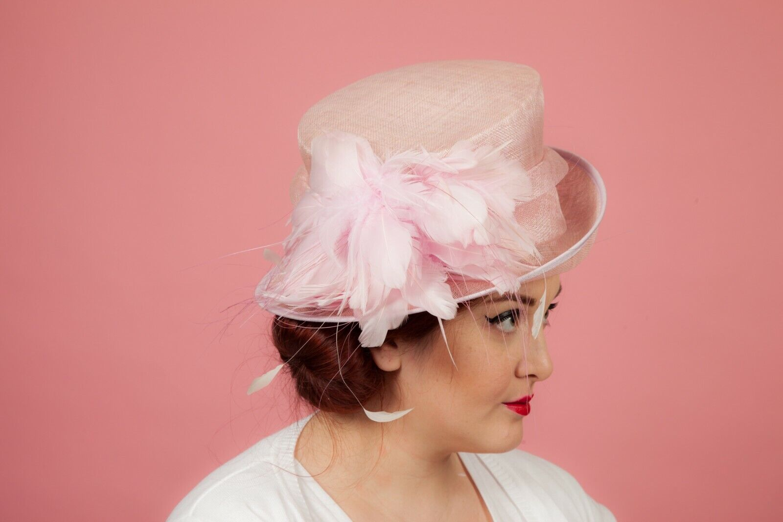 Light purple feathered formal hat by The British Hatter Wedding Races MOB