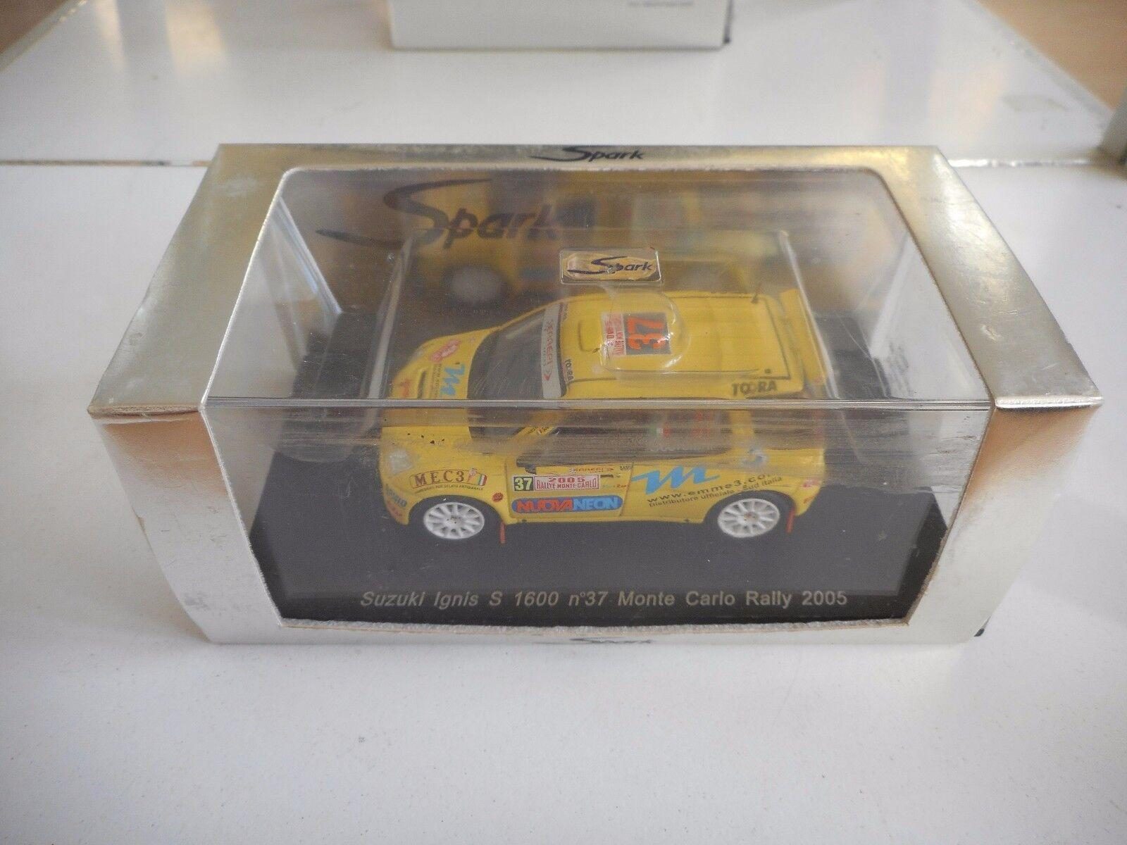 los nuevos estilos calientes Spark Suzuki Ignis S 1600 Monte Monte Monte Cochelo Rally 2005 in amarillo on 1 43 in Box  soporte minorista mayorista