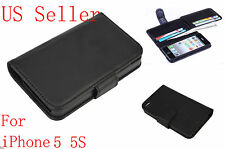 Luxury Leather Flip 6 Card Wallet Case Stand Cover Skin for Apple iPhone 5 5S