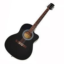 Akustik Gitarre 4/4 Westerngitarre Schwarz + Rosenholz Griffbrett + Saiten NEU