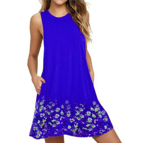 Damen Boho Kleider Sommerkleid Strandkleid Minikleid Tunika Ärmellos Trägerkleid