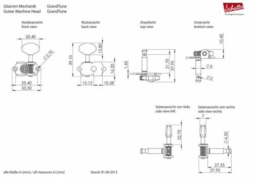 Genuine Schaller Germany Grand Tune Tuners 3x3 Ruthenium Butterbean 10510623