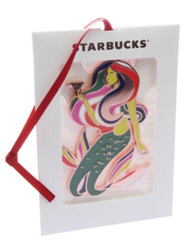 Starbucks Official 2017 Christmas Holiday Siren Mermaid Flat Metal Ornament