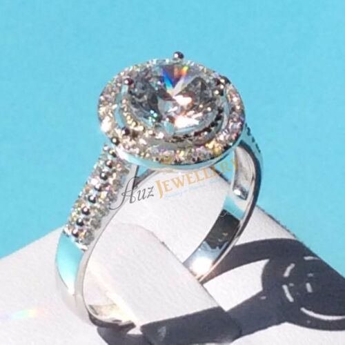 13.1mm Halo Simulated Diamond Real 925 Sterling Silver Engagement Wedding Ring