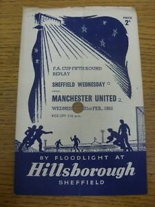 21-02-1962-Sheffield-Wednesday-v-Manchester-United-FA-Cup-Replay-4-Pages-Lar